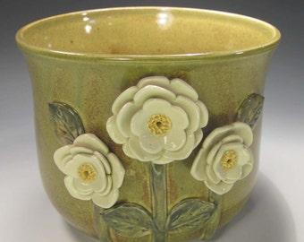 Flowers on Olive Vase