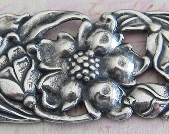 Large Silver Floral Bar Finding 2645
