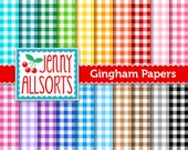 Gingham Digital Paper Pack - 20 Sheets in Rainbow colors - Instant Download