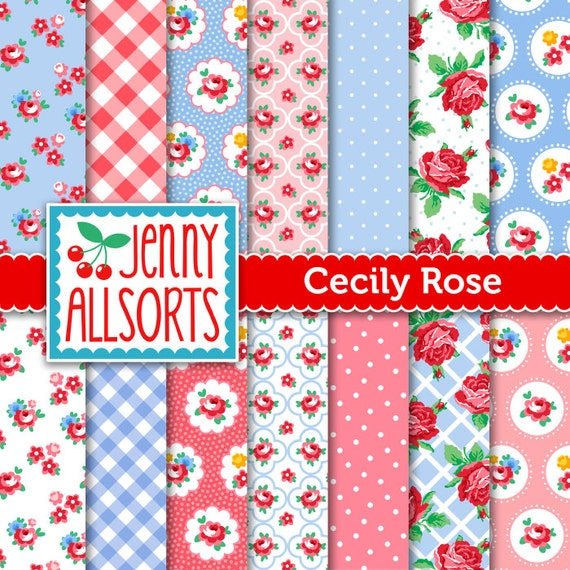 Shabby Chic Digital Paper Cecily Rose - Pink and Lavender Blue - for invites, card making, digital scrapbooking