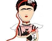 Frida Print, Portrait, Frida Kahlo art, illustration print, mexican art