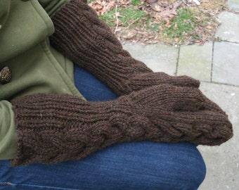 Handknit Mittens, Bella's, Twilight, Gauntlet, Chestnut Brown, Womens, Wool Acrylic. Handmade by Felted Friends on Etsy.