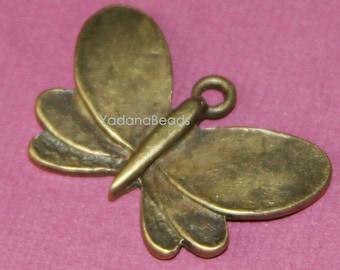 6 pcs of Antique brass butterfly pendant drop 18x28mm