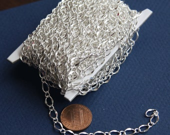 10ft  of Silver plated hammered chain soldered chain figure 8 chain 5X8mm