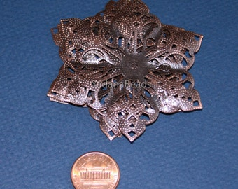 10 pcs of Antiqued Copper filigree pendant drop 63mm