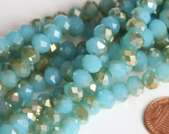 16 inch Strand of electro plated glass faceted rondelle beads 5X8mm Gold/Amazonite