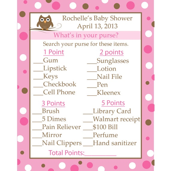 ... Baby Shower Game Cards - What's in Your Purse - Pink Baby Owl