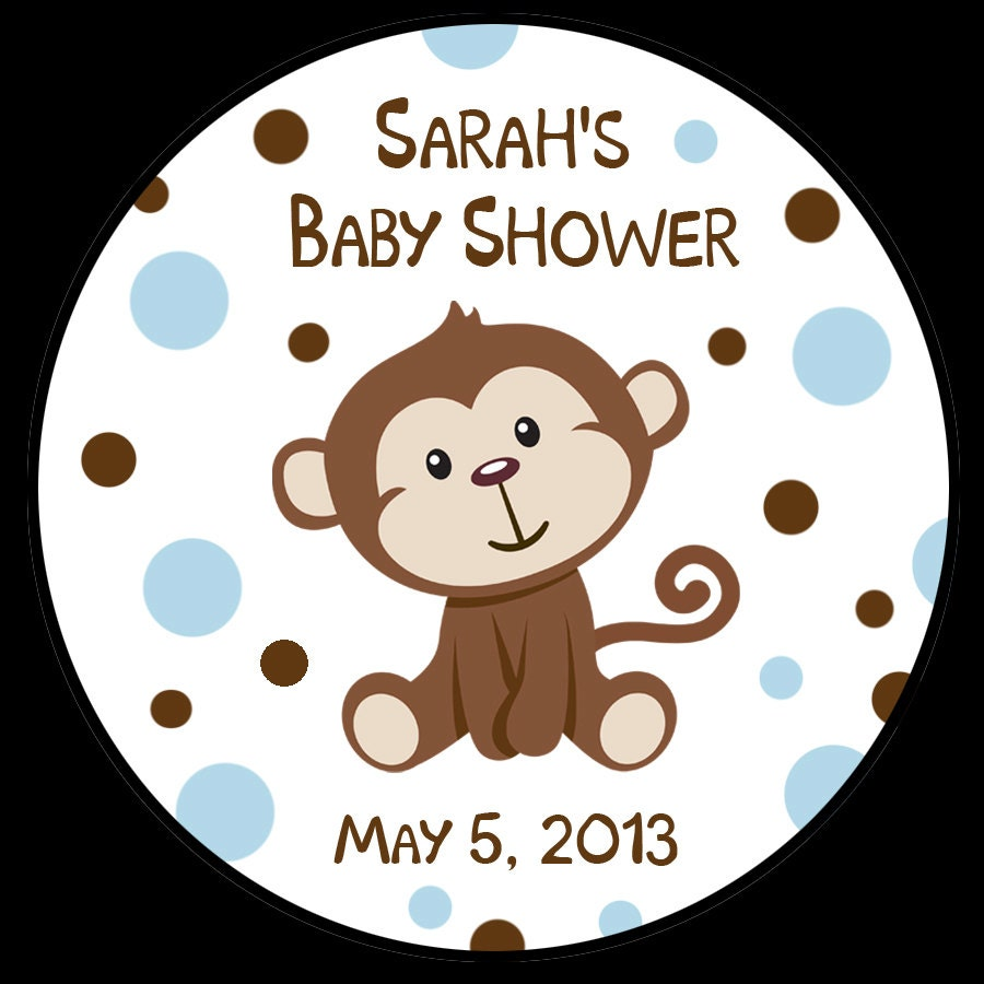 Baby Shower Stickers For Favors: Little Monkey Baby Shower Stickers Favor Stickers