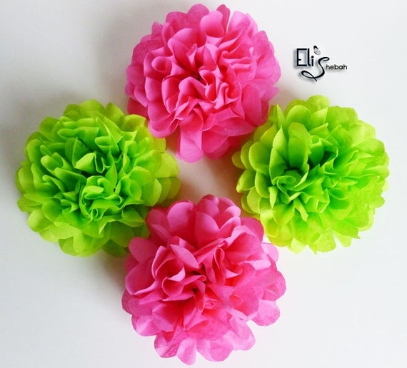 Wedding Napkin rings flowers Hot Pink Lime Green Tissue Pom Poms Birthdays Showers Christening