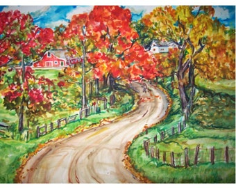 AUTUMN COLORS -11x15 original painting landscape watercolor OOAK, Country, Farm, Road, Autumn, Fall, Trees, Leaves