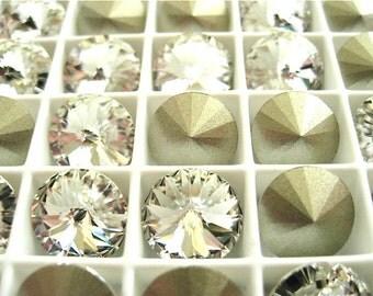 12 Clear Crystal Foiled Swarovski Crystal Rivoli Stone 1122 47ss 10mm