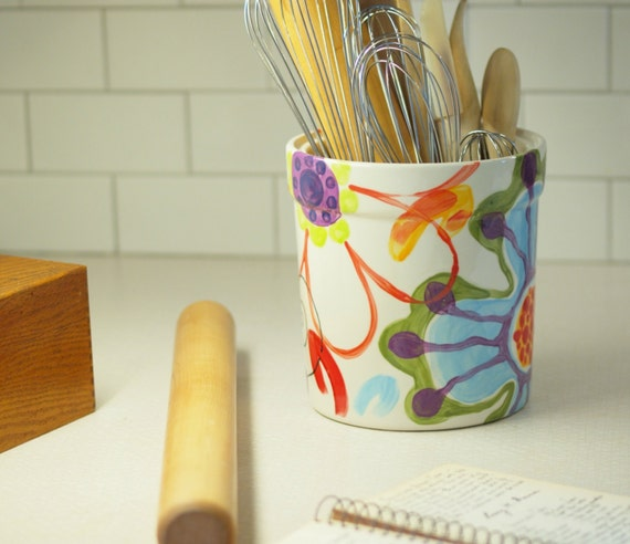 Utensil holder kitchen utensil holder ceramic by romyandclare - Unique kitchen utensil holder ...