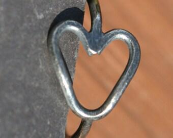 Pinky Heart Ring , Oxidized Fine Silver , Silver Open Heart Ring , US Size 4.5 Pinky Ring , Statement Ring by Maggie McMane Designs