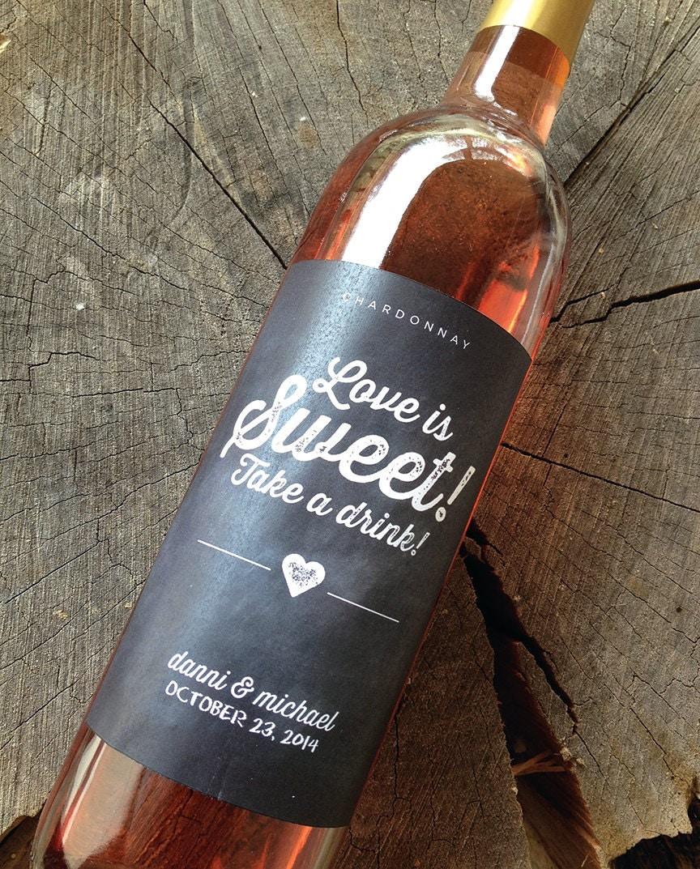 Wedding Wine Bottles: Chalkboard Style Wedding Wine Bottle Labels Wedding Wine