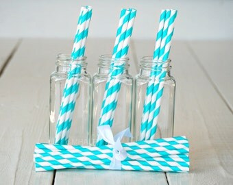 Stripe Straws AQUA - Great Parties Supplies from Mary Had a Little Party
