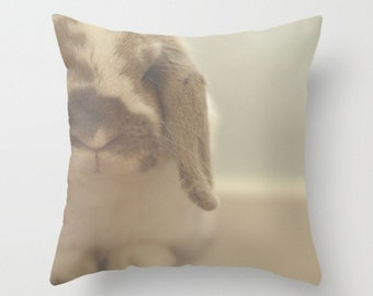 Bunny Pillow Cover Spun Cotton Pillow Cover Woodland Forest Creature Sweet Rabbit Children's Room Decor White Bunny