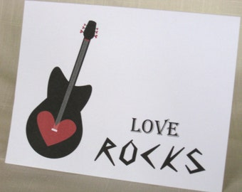 Valentine Cards - Guitar Note Cards - Set of 8