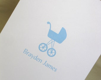 Baby Boy Personalized Note Cards with Stroller