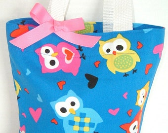 Hearts and Owls Tote/Purse/Beach/Party Favor Bag