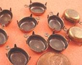 14 Antique Brass Brass Ox Oval Prong Settings 14x10 1 Ring Closed Back Earring Drop Settings Charm Setting Rhinestone Settings