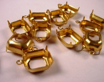 20 Brass Octagon Prong Settings 12x10 1 Ring Open Back