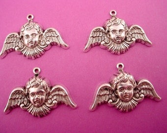 4 silver ox Angel Cherub curved  wing   art nouveau charms 1 loop 25mm