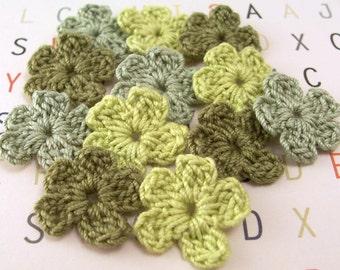 Crochet Green Flower Appliques  Set of 12