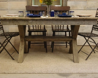 "Driftwood Trestle Table (72"" x 30"" x 30-42""H)"