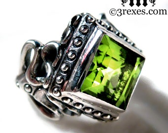 Silver Wedding Ring Victorian Gothic Engagement Band Green Peridot Cocktail Ring Raven Love Size 6