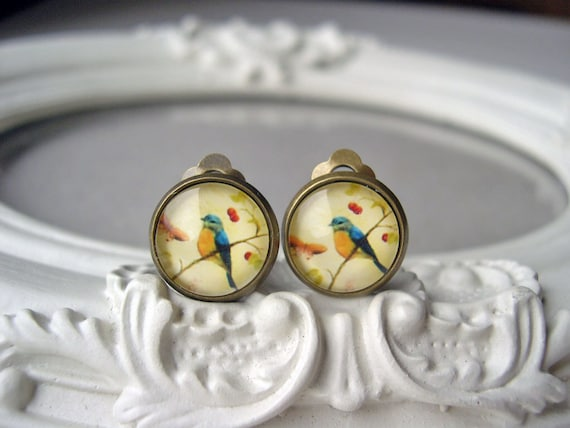 Pretty bird clip earrings sweet lolita feminine romantic