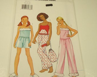 CLEARANCE Butterick Girl's Top, Shorts, Pants, Bag And Mask Pattern 6897 Size 12 14 16