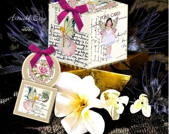 Instant Digital Download GIFT BOX  Fairy Flowers Birthday Tags Vintage Template pansy rose Printable Wedding Party Shower Children
