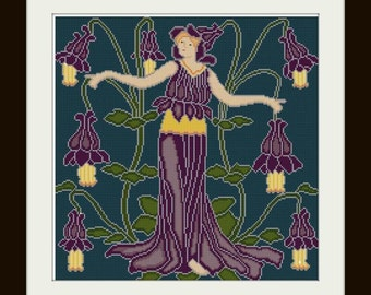 Columbine Flower Fairy cross stitch pattern PDF