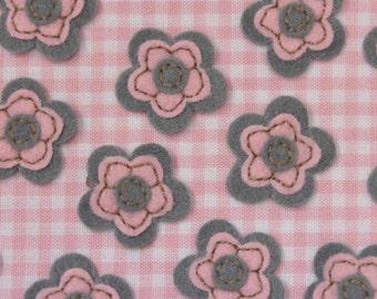 Set of 12pcs felt flower--pewter (FT406)