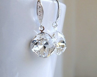White Swarovski Crystal Earrings Foiled Cushion Stone Sterling