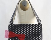 Messenger Bag Black and White Polka Dot Cross Body Bag Purse