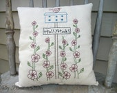 Hand Stitched, Spring, Pillow, Decorative Pillow, Garden, Flowers, Hollyhocks