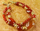 Red Agate Bracelet  (Sadie)  by Gonet Jewelry Design ( RESERVED FOR PAM)