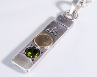 Sterling Silver, Gold and Green Cubic Zirconium Necklace