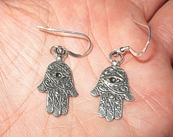 Hamsa hand with evil eye silver charm earrings Kabbalah jewelry