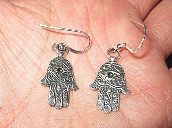 Hamsa hand with evil eye silver charm earrings Kabbalah jewelry