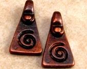 Greek Cast Metal Pyramid Meandros Spiral Pendant, Bronze Patina, 18-MM 2-Pc. M180