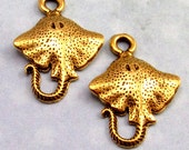 Antique Gold Stingray Fish Charm,  2 Pc. AG222