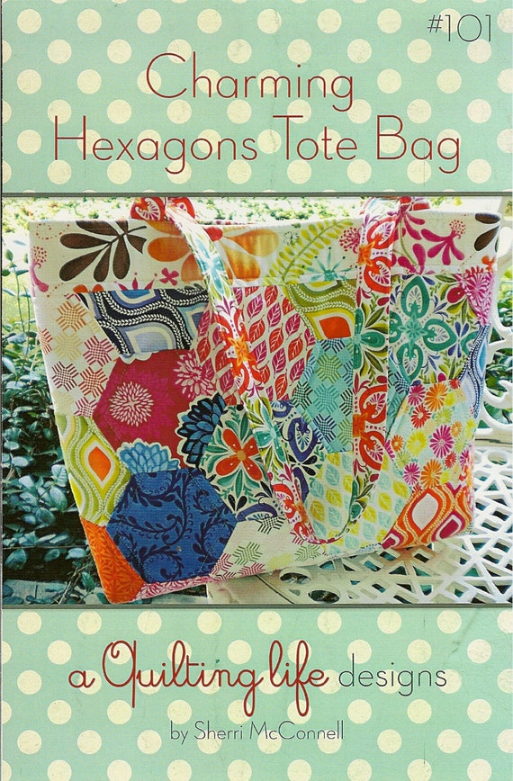 sale Charming Hexagons Tote Bag PATTERN by A Quilting Life Designs