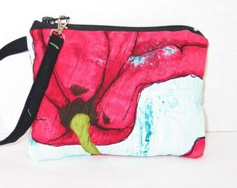 Big Poppy Flower -Wristlet -Wallet -Aqua -Red-Bridesmaids -BagZGirl