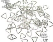 50 Silver Plated Triangle Jump Rings Bail