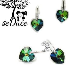 925 stamped Sterling Silver Dangle Swarovski Heart Earrings