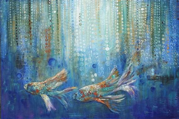 Modern HD Print Animal art oil painting canvas Feng Shui ... |Modern Koi Fish Painting