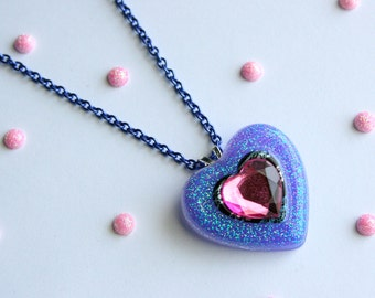 Purple Heart Necklace, Resin, Glitter, Kawaii Rave Jewelry, Lilac, Fairy Kei