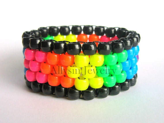 Rainbow Kandi Cuff, Mini Neon Stretch Bracelet, Plur Rave Jewelry